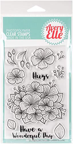 Avery Elle Clear Stamp Set 4 x 3-inch with Sympathy Multicoloured Acrylic 0.09 x 4.4 x 5.65 cm