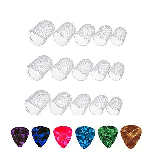 SAIYU Guitar Fingerspitzen Protektoren 15 Stück L/M/S/XS/XXS Größe Klar Silikon Finger Guards mit 6 Pack Assorted Plektren für Ukulele E-Gitarre