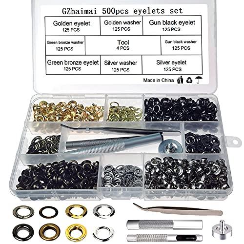 GZhaimai 500 ojales de metal de 8 mm, juego de herramientas en 4 colores con juego de herramientas para cuero, tela, cortinas, cubiertas de piscina