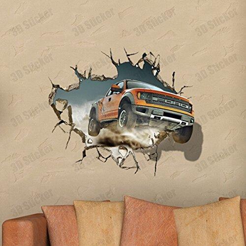 PhilMat 3d hors route art décalques de véhicules paroi du trou de mur autocollants 27 pouces amovible décor à la maison