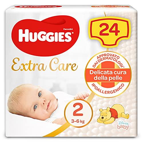 Huggies Extra Care Bebè Pannolini, Taglia 2 (3-6 kg), Confezione da 24 Pannolini