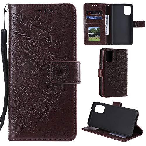 CoverKingz Handyhülle für Samsung Galaxy A41 - Handytasche mit Kartenfach Galaxy A41 Cover - Handy Hülle klappbar Motiv Mandala Braun