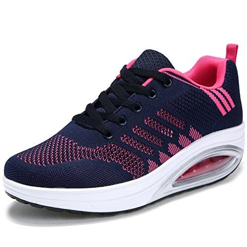 Solshine Damen Fashion Plateau Schnürer Sneakers mit Keilabsatz Walkmaxx Schuhe Fitnessschuhe Dunkelblau 40EU
