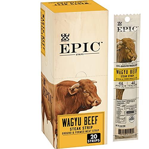 EPIC Wagyu Beef Steak Strips, Grass-Fed, Paleo Friendly, 20 ct, 0.8 oz Strips