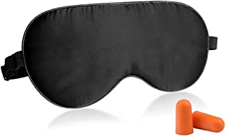 Fitglam Natural Silk Sleep Mask, Best Sleeping Mask Eye Mask Eye Cover for Travel, Nap, Meditation, Blindfold with Adjustable Strap for Men, Women and Teenagers (black)