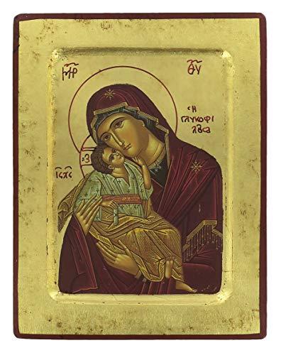 Ferrari & Arrighetti Icono Virgen de la Ternura de Vladimir de Madera - 18 x 14 cm