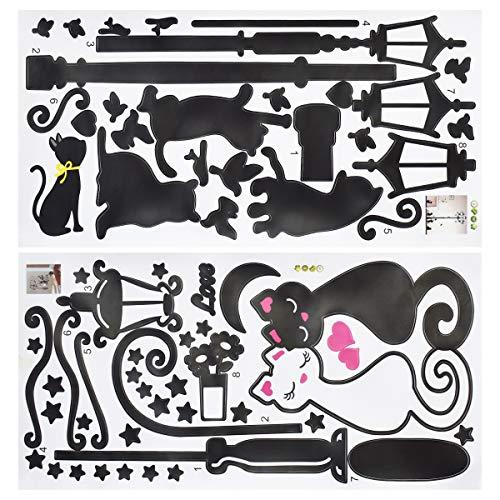 Qixuer 1Pcs Amantes Gato Luces de La Calle Wallpaper Negro y Blanco Etiqueta Engomada Del Gato 1Pcs Lámpara de Calle Gato Pegatina Desmontables Etiqueta De La Pared para Casa Oficina Habitación