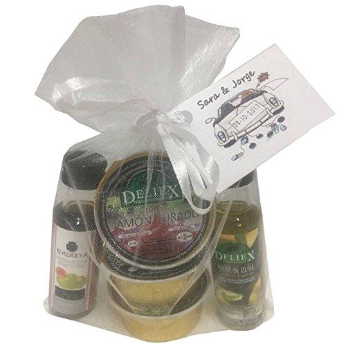 Lote botellita de Aceite de Oliva y Vinagre de Jerez con 3 monodosis de patés (Pack 24 ud)