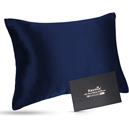 Ravmix 100% Pure Mulberry Silk Pillowcase 30 Momme 900TC for Hair and Skin with Hidden Zipper Both Sides Soft Breathable Silk, Queen Size 20×30inch, 1PCS, Navy Blue
