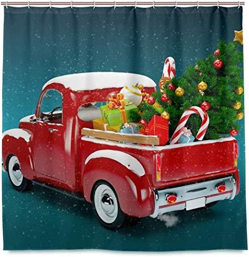 Abholung mit Weihnachtsbaum und Geschenken Duschvorhang Wasserdichtes Polyestergewebe Bad Curtian Badezimmer Dekor
