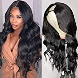 180% Density U Part Wig Human Hair Brazilian Remy Long Body Wave Human Hair Wigs for Black Women Glueless Natural Black None Lace Front Wig with Middle Part 22'