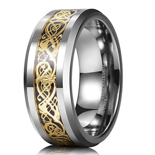 King Will DRAGON 8mm Gold Celtic Dragon Tungsten Carbide Mens Wedding Band Ring Comfort Fit 10
