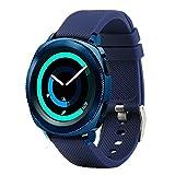 Bracelet de rechange Fit-power pour montre connectée - 20mm Pour montres Samsung Gear Sport / Samsung Gear S2Classic / Huawei Watch 2/ Garmin Vivoactive 3 / Garmin Vivomove HR, bleu marine