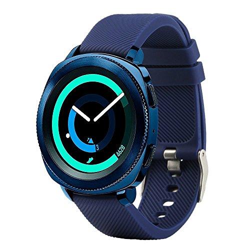 Bracelet de rechange Fit-power pour montre connectée - 20 mm Pour montres Samsung Gear Sport / Samsung Gear S2 Classic / Huawei Watch 2 / Garmin Vivoactive 3 / Garmin Vivomove HR, bleu marine