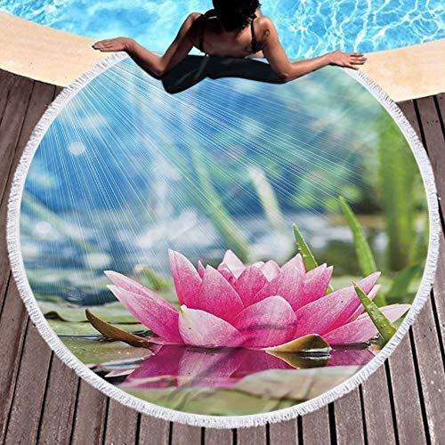Toalla de Playa Redonda Ultra Ligeras, absorbentes, de Secado rápido - redonda estera de la yoga Deporte Viaje Playa Gimnasio Verde Simple Floral 59''