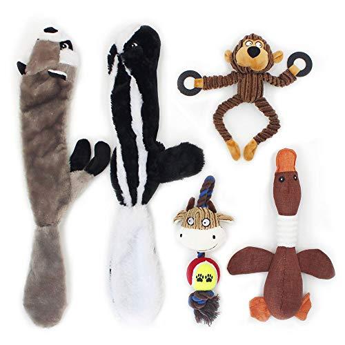 Interaktives Hundespielzeug Set Quitschend Plüschtier – Quitsche Spielzeug für Hunde, 5 Stücke Kauspielzeug für Hunde Unzerstörbar, Kauen Spielzeug in Form von Affe,Waschbär,Bulle,Gans,Eichhörnchen