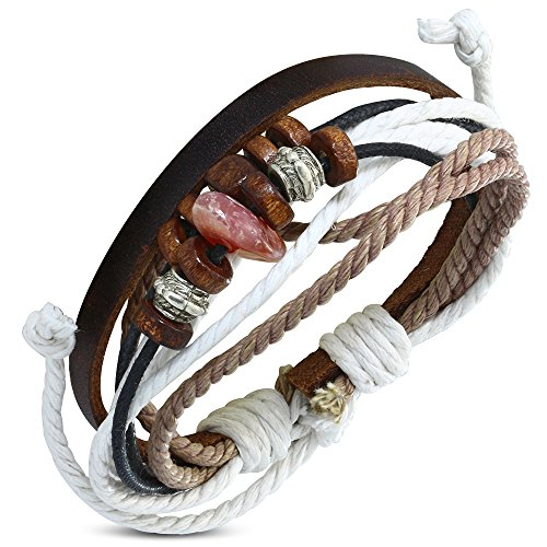 Zense ZB0292 Leren armband, heren, verstelbaar, bruin met parel Karma en snaren