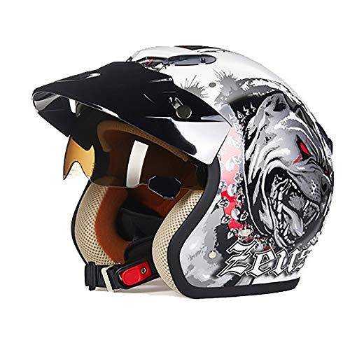 ChenTeShangMao Weißer Hund Muster ABS Erwachsenen Fahrradhelm Fahrrad Mountainbike Helm Outdoor Reitausrüstung Reiten Elektroauto Motorrad Helm Gute Qualität (Size : XL)