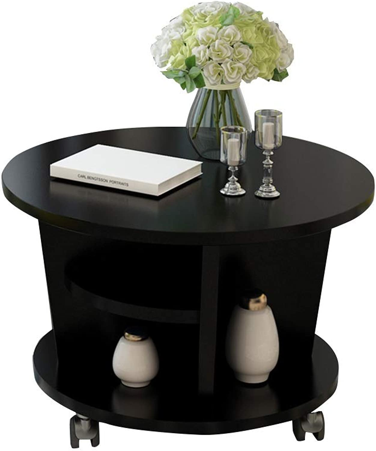 HAIZHEN table Movable Coffee Table, MDF Shelf Easy to Assemble Side Table Multifunctional Bedside Table (color   C)