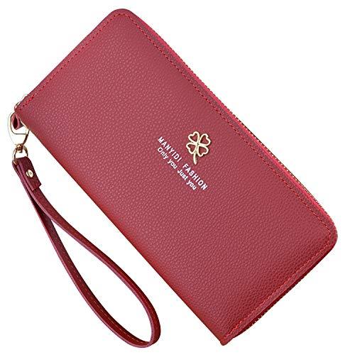 Yixuan Carteras de Mujer Monederos de Gran Capacidad de Cuero Bolsos Largo de Mujer con Cremallera de Bolsillo Monedero de Mujer Carteras de Piel Larga Teléfono Billetera para Señoras (Rojo)