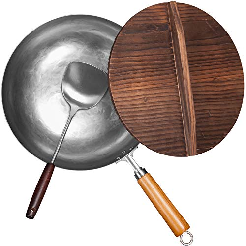 EDGING CASTING Traditional Chemical Free Carbon Steel Wok Pan with Flat Bottom Pow Wok 12quot White