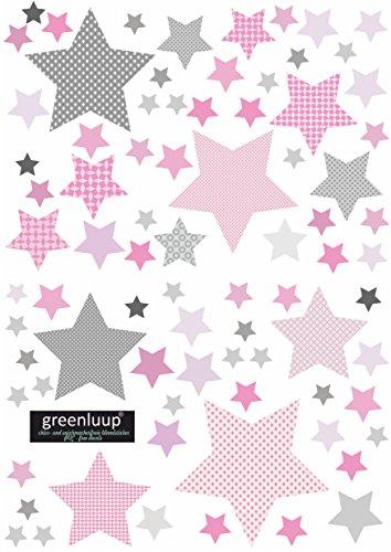 greenluup Wandsticker Wandaufkleber Sterne mehrfarbig mit Mustern Kinderzimmer Baby (Sterne Pink)