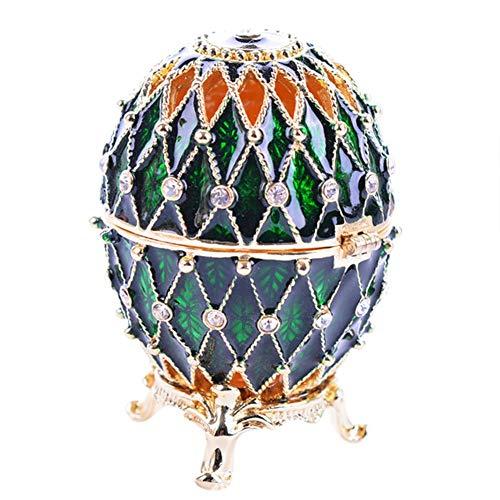 Bilibilidage Huevo de moda en forma de caja de joyería caja antigua caja de joyería anillos caja con diamantes de imitación brillante