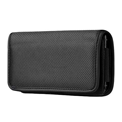 ABCTen Fondina Porta Cellulare Orizzontale con Clip per Cintura Custodia in Nylon Compatible per iPhone 6 6S 7 8 / SE 2020 / X/XS / 11 PRO