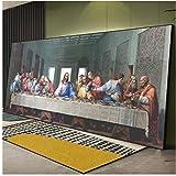 Pintura famosa de Da Vinci de gran tamaño, impresión en lienzo, copia de la última cena, arte de par...