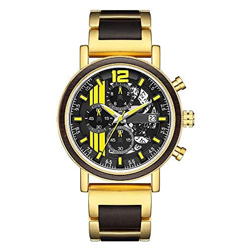MAID Guapo Reloj Brillante para Hombres Elegantes, Relojes para Hombre cronógrafo Calendario Reloj ébano Arce Rojo Sandalwood Reloj de Madera Completa Reloj de Negocios