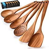 Zulay Kitchen (6 Pc Set) Wooden Utensils For Cooking - Non-Stick Soft Comfortable Grip Wooden...