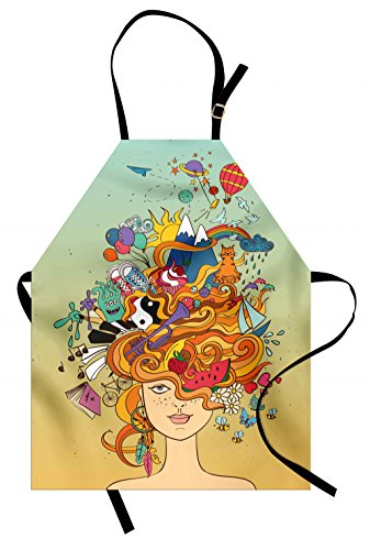 Lunarable Curly Hair Apron, Young Girl with Busy Head Psychedelic Her Hippie Dreams Wishes Hobbies Concept, Unisex Kitchen Bib with Adjustable Neck for Cooking Gardening, Adult Size, Seafoam Rainbow