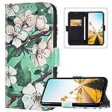 Compatible avec Coque Samsung Galaxy Note 10 Étui à Rabat Cuir PU Flip Case,3D Coloré Motif Portefeuille Cuir Housse Etui Magnétique Wallet Coque Protection pour Galaxy Note 10,Coloré Fleur