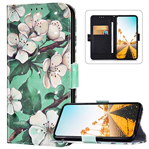 Flip Wallet Phone Case for Sony Xperia L4, PU Leather Cute Pattern Design Cover [Kickstand] [Card Slots] [Magnetic Clasp] Front and Back Bookstyle Folio Protective Case for Sony Xperia L4,Flowers-2