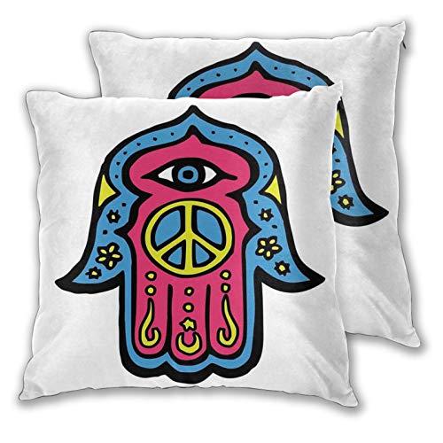 Fundas de almohada decorativas de 2 piezas Hippie Boho Hamsa Mano de Fátima con signo de paz en la palma de arte étnico asiático, funda de cojín de 55,8 x 55,8 cm para el hogar, sofá o dormitorio