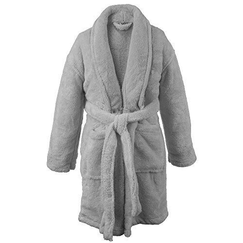 BC BARE COTTON Kids Microfiber Fleece Shawl Robe - Boys - Grey - Large