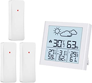 ORIA Weather Forecast Station, Indoor Outdoor Thermometer with 3 Remote Sensors, Digital Hygrometer Thermometer, Temperatu...
