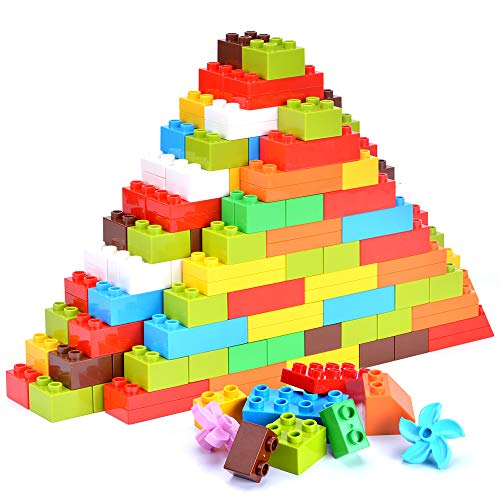 Lekebaby Big Building Bricks 220 Pieces Classic Large Building Blocks Set Compatible with All Major Brands for Kids Age 3 and Up