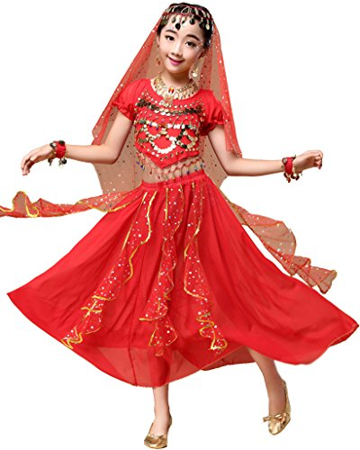 Astage - Vestito indiano stile Bollywood, per Halloween o carnevale, Rot, L Fits 12-13 years
