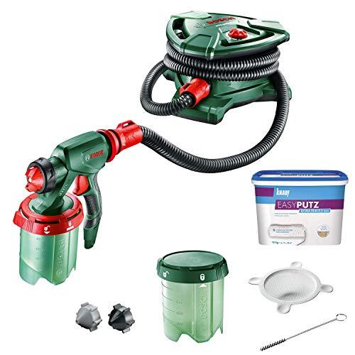 Bosch DIY Tools 0603207203 PFS 5000 E Farbsprühsystem + Knauf EASYPUTZ, Körnung, schneeweißer, mineralischer Dekorputz, hochwertig, zum einfachen Aufrollen auf Wand oder Decke im Innenbereich
