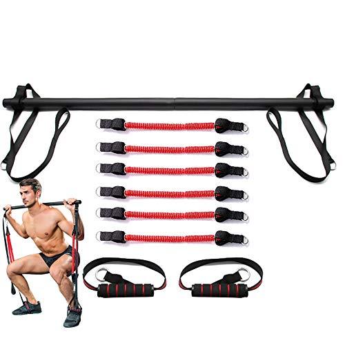 XLanY Sistema portátil de Barra de Pilates para Gimnasio en casa, Correa de Estiramiento de Pierna de Cuerpo Completo, Banda de Resistencia de Barra de Fitness con Entrenamiento de Equipo,3