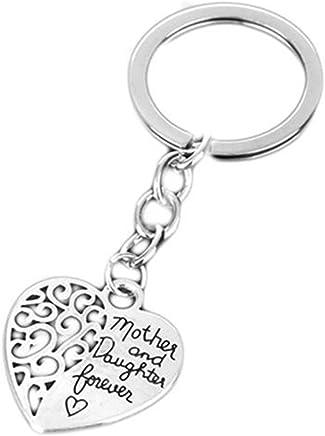 SODIAL Mere et Fille pour Toujours Porte-CLE de Forme de Coeur D'amour Creux Porte-CLE pour Cadeau de Fete des Meres