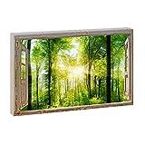 Fensterblick - Sonnenstrahlen im Wald | Panoramabild im XXL
