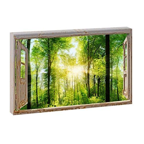 Fensterblick - Sonnenstrahlen im Wald   Panoramabild im XXL Format   Poster   Wandbild   Fotografie   Trendiger Kunstdruck auf Leinwand   Verschiedene Formate (Farbig, 120 cm x 80 cm   Querformat)