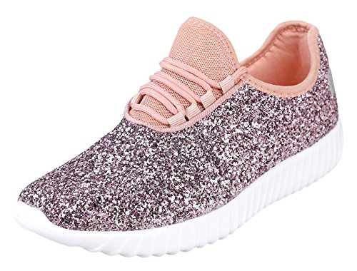 Forever Link Women's Remy-18 Glitter Sneakers | Fashion Sneakers | Sparkly Shoes for Women | Pink 10