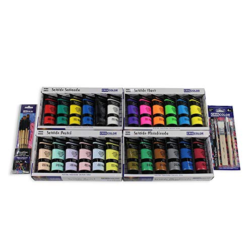 MAXI KIT - Pinturas Acrílicas 24 x 75ml - Surtido de colores Satinado, Pastel, Metalizado y Fluorescente + Juego de 9 Pinceles. Para trabajo artístico y manualidades.