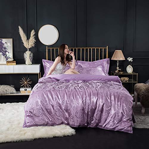 yaonuli Hochwertige Baumwollsatin Jacquard vierteilige Baumwolllaken Bettbezug 1,5 m Bett 笠