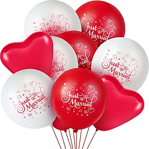 16 Pièces Ballons Just Married 12 Pouces Ballons en Latex An
