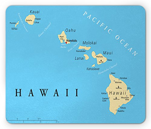 Lunarable Hawaiian Mouse Pad, Map of Hawaii Islands with Capital Honolulu Borders and Important Cities, Rectangle Non-Slip Rubber Mousepad, Standard Size, Black Ivory
