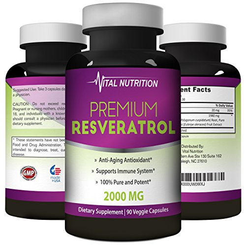 Pure Resveratrol - 2000mg - Strongest, Most Effective Blend on Amazon - 90 Capsules - Order Risk Free